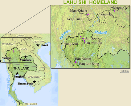 Lahu Shi in Thailand map