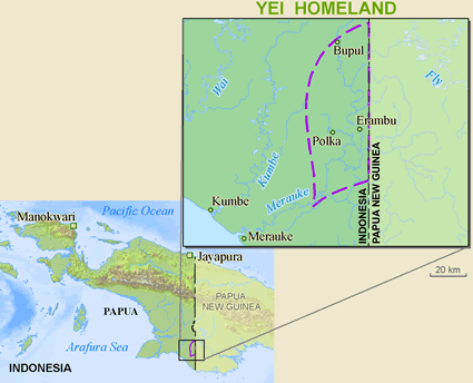 Yei in Papua New Guinea map