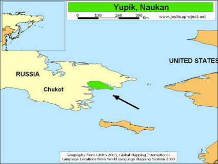 Yupik, Naukan in Russia map