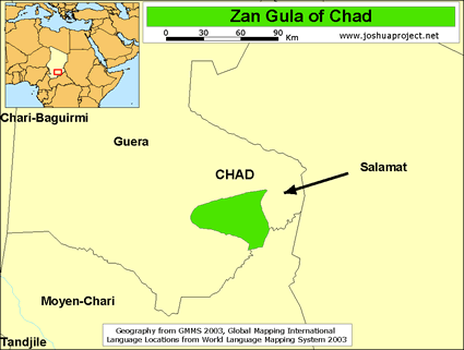 Zan Gula in Chad map