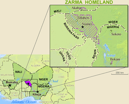 Zarma in Nigeria map