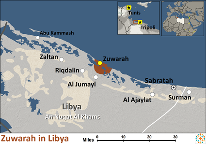 Zuwarah in Libya map
