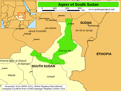 Ageer in South Sudan map