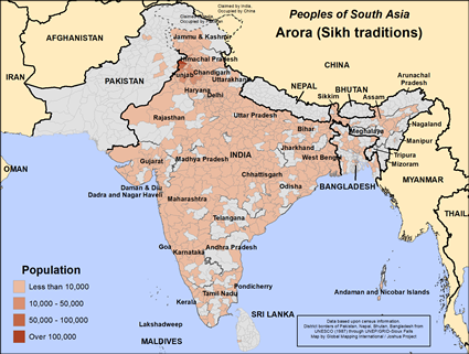 Arora (Sikh traditions) in India map