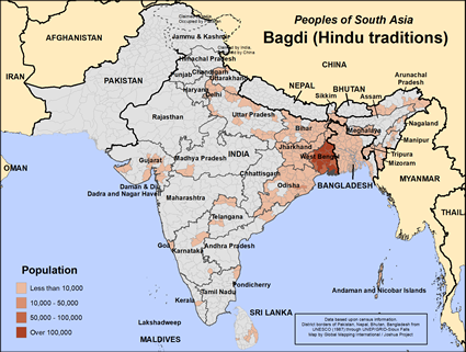 Bagdi (Hindu traditions) in India map