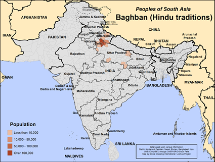 Baghban (Hindu traditions) in India map