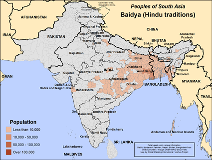 Baidya (Hindu traditions) in India map