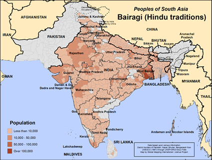 Bairagi (Hindu traditions) in India map