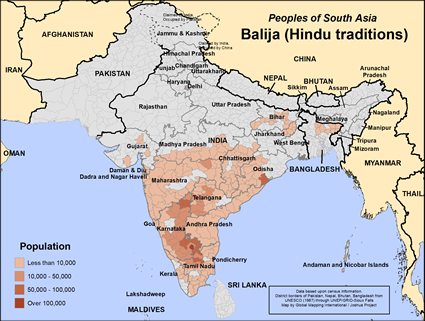 Balija (Hindu traditions) in India map