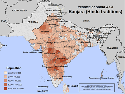 Banjara (Hindu traditions) in India map