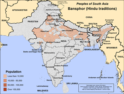 Bansphor (Hindu traditions) in India map