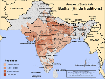 Badhai (Hindu traditions) in India map