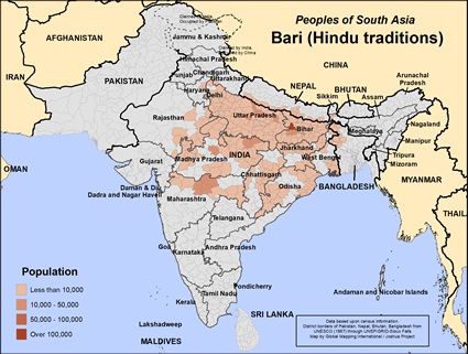 Bari (Hindu traditions) in India map