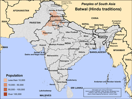 Batwal (Hindu traditions) in India map