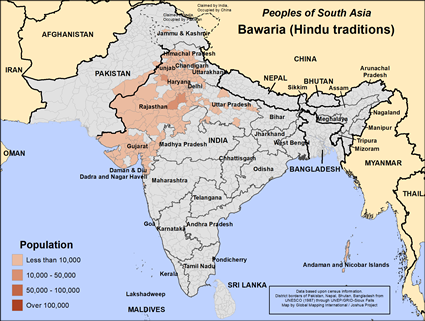 Bawaria (Hindu traditions) in India map