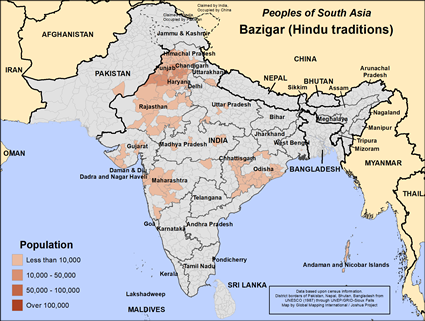 Bazigar (Hindu traditions) in India map