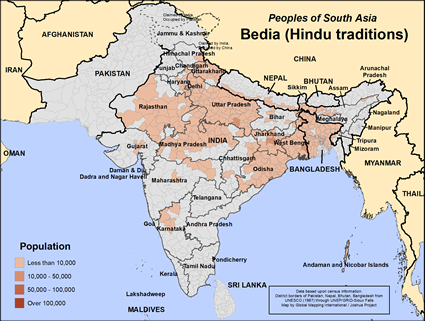 Bedia (Hindu traditions) in India map