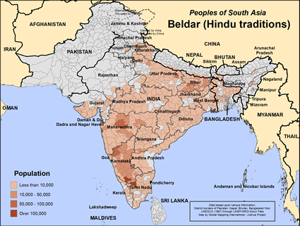 Beldar (Hindu traditions) in India map