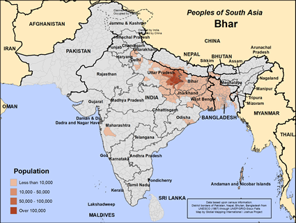 Bhar in India map
