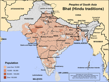 Bhat (Hindu traditions) in India map