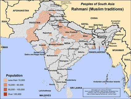 Rahmani (Muslim traditions) in India map