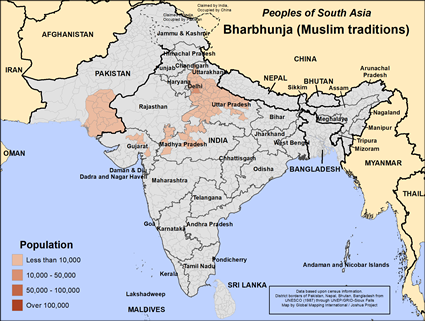 Bharbhunja (Muslim traditions) in Pakistan map