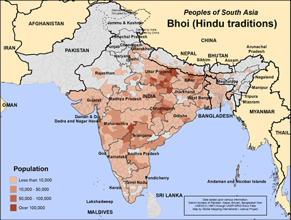 Bhoi (Hindu traditions) in Bangladesh map