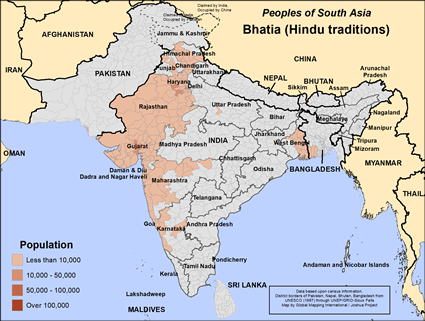 Bhatia (Hindu traditions) in India map