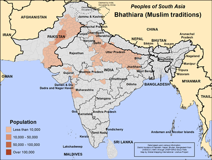 Bhathiara (Muslim traditions) in India map