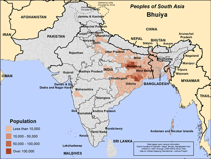 Bhuiya in India map