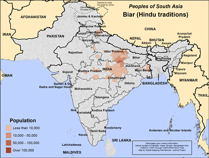 Biar (Hindu traditions) in India map