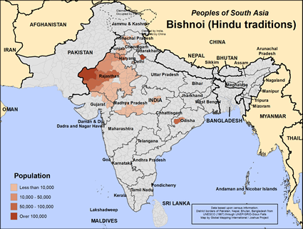 Bishnoi (Hindu traditions) in India map