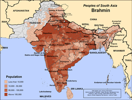 Brahmin in India map