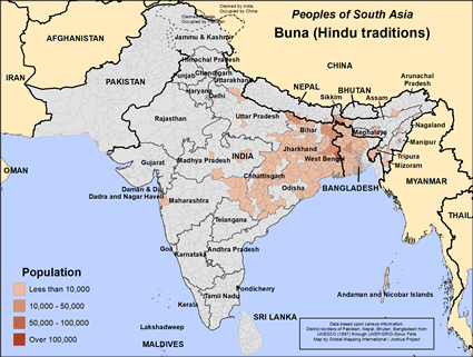 Buna (Hindu traditions) in India map