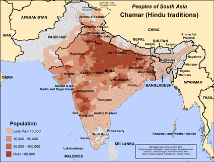 Chamar (Hindu traditions) in India map