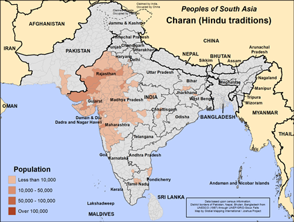 Charan (Hindu traditions) in India map