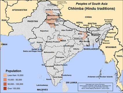 Chhimba (Hindu traditions) in India map