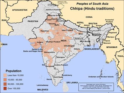 Chhipa (Hindu traditions) in India map
