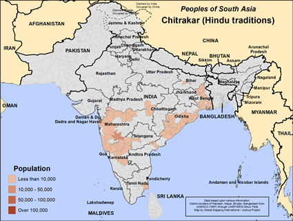 Chitrakar (Hindu traditions) in India map