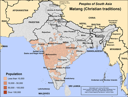 Matang (Christian traditions) in India map