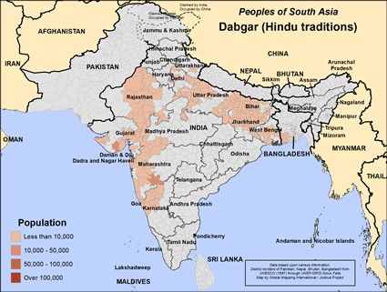 Dabgar (Hindu traditions) in India map