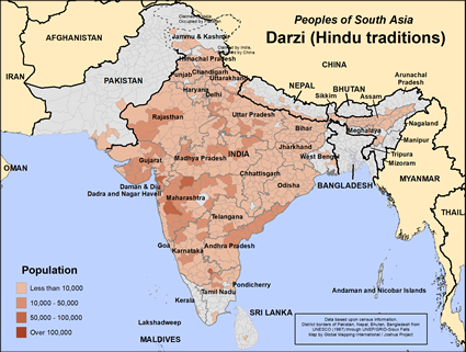 Darzi (Hindu traditions) in India map