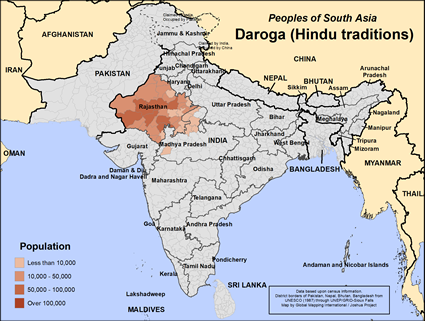 Daroga (Hindu traditions) in India map