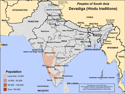Devadiga (Hindu traditions) in India map