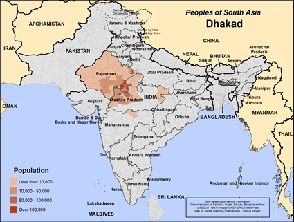 Dhakad in India map