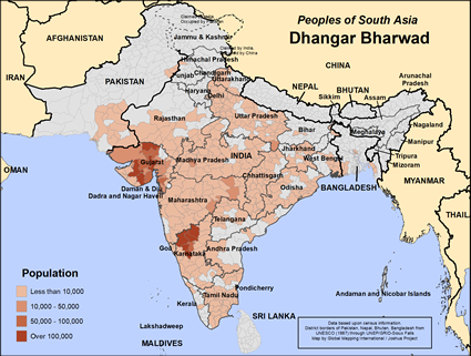 Dhangar Bharwad in India map