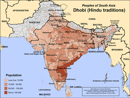 Dhobi (Hindu traditions) in India map