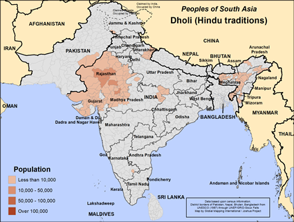 Dholi (Hindu traditions) in India map