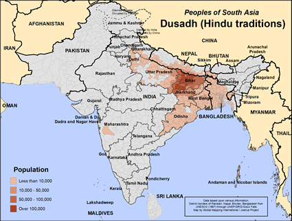 Dusadh (Hindu traditions) in India map