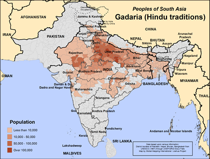 Gadaria (Hindu traditions) in India map